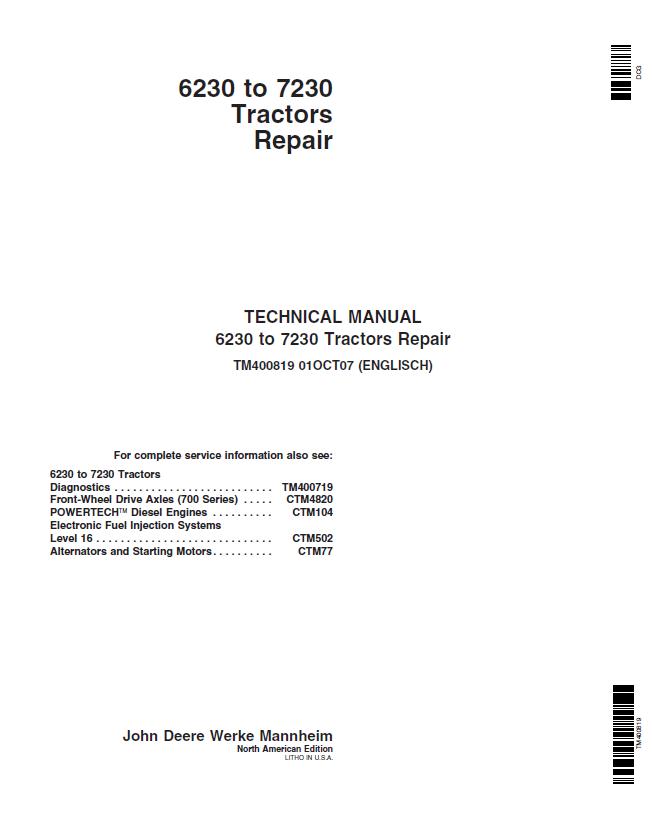 john deere tractors parts manual