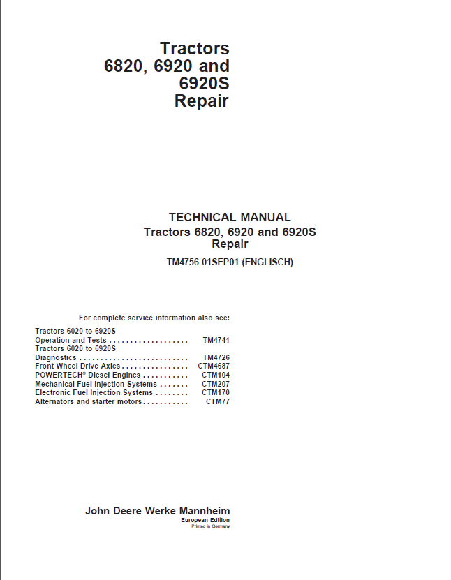 john deere tractors 6820 6920 6920s repair tm4756 pdf rh epcatalogs com john deere repair manual free download john deere a parts manual