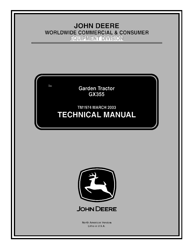 John Deere GX355 Garden Tractor TM1974 Technical Manual PDF on