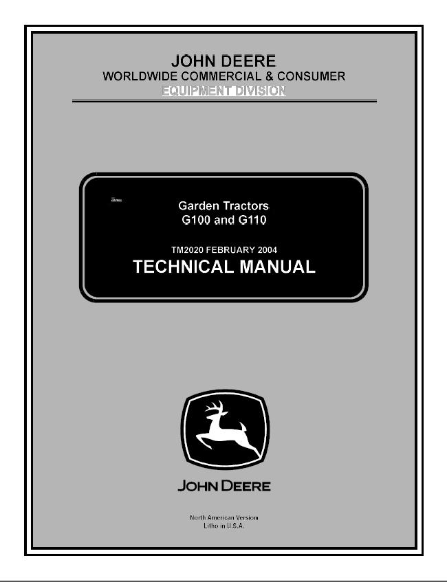 John Deere G100 G110 Garden Tractors Tm2020 Pdf Manual