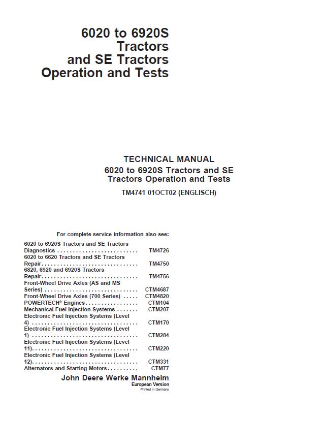 John Deere 6020 To 6920s Tractors Se Operation  U0026 Tests Pdf