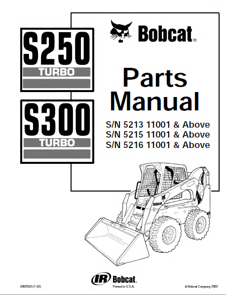 bobcat s250 s300 turbo skid steer loaders parts manual pdf spare parts catalog trucks