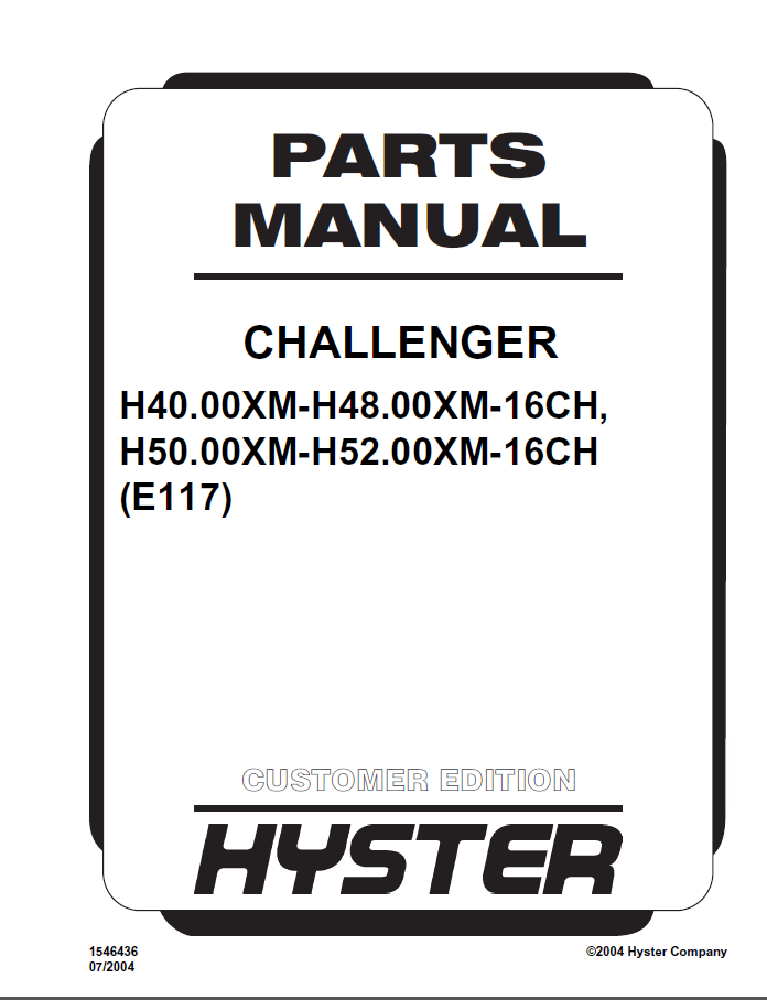 hyster challenger  e117  pdf parts manual