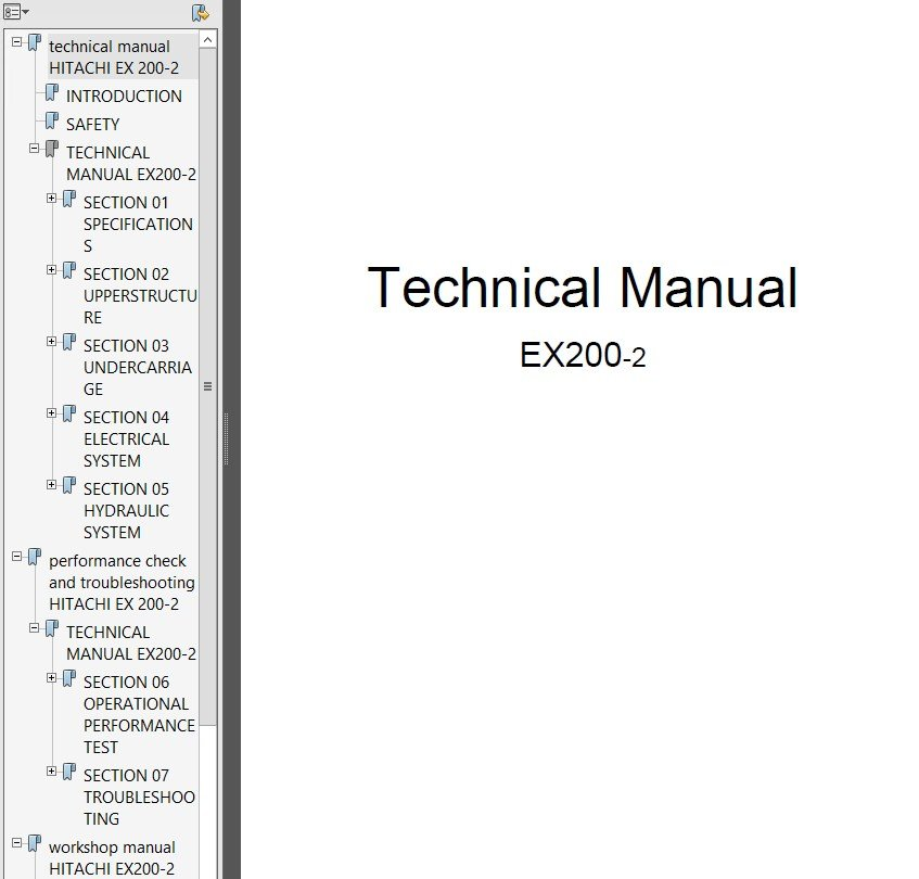 hitachi ex200 2 excavator technical workshop manual pdf rh epcatalogs com Hitachi ZX330 hitachi ex200-2 excavator service repair manual
