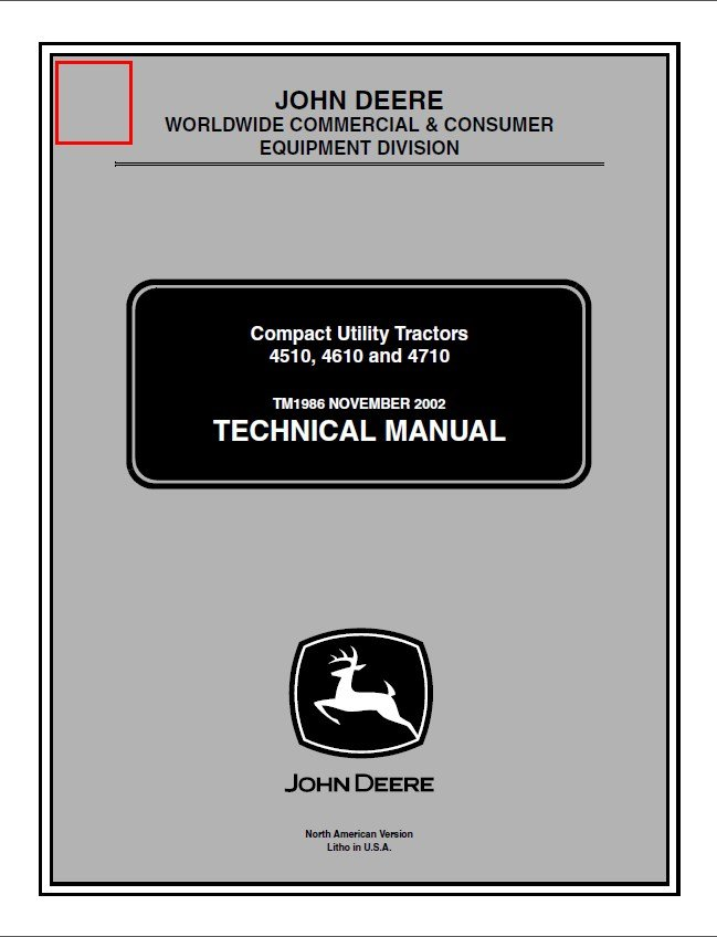 John Deere Compact Utility Tractors 4510 4610 4710 Tm1986