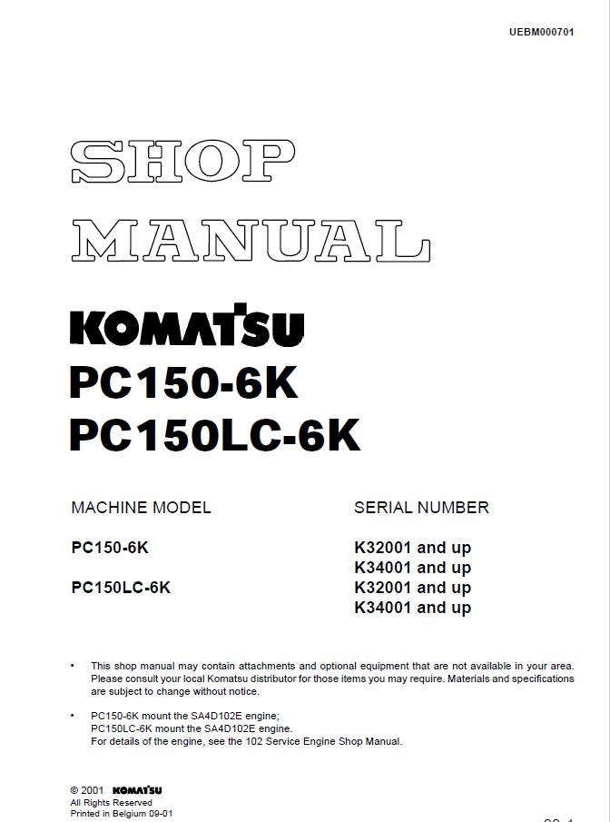 download komatsu pc150 6k pc150lc 6k excavator manual