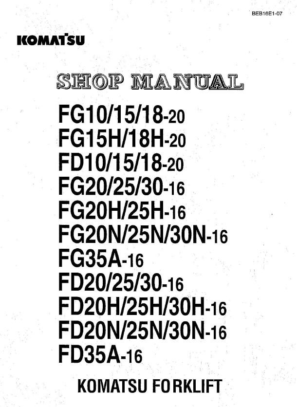 Komatsu Forklifts Shop Manuals + Operation & Maintenance Manuals PDF