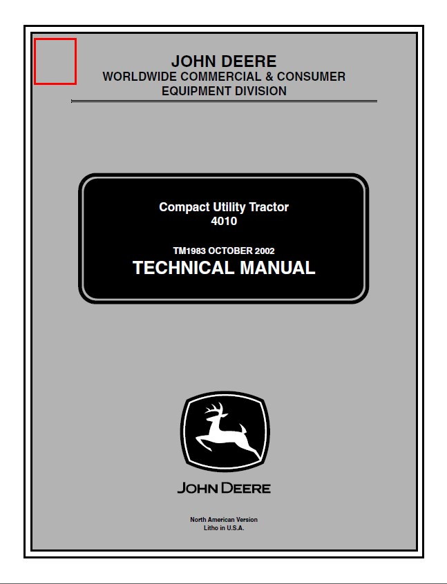 John Deere 4010 Compact Utility Tractor TM1983 Technical Manual PDF