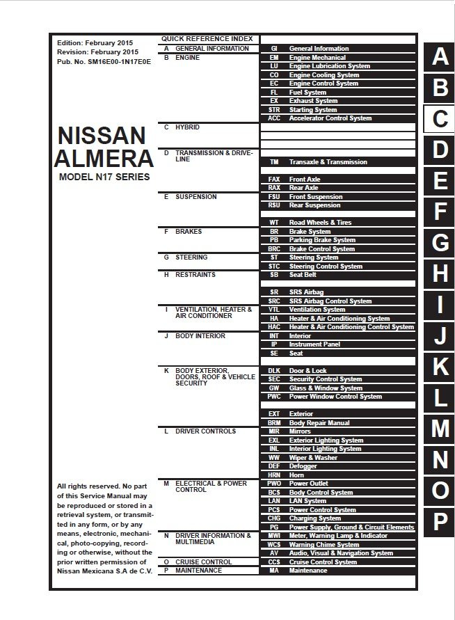 Download Nissan Almera Model N17 Series 2016 Esm