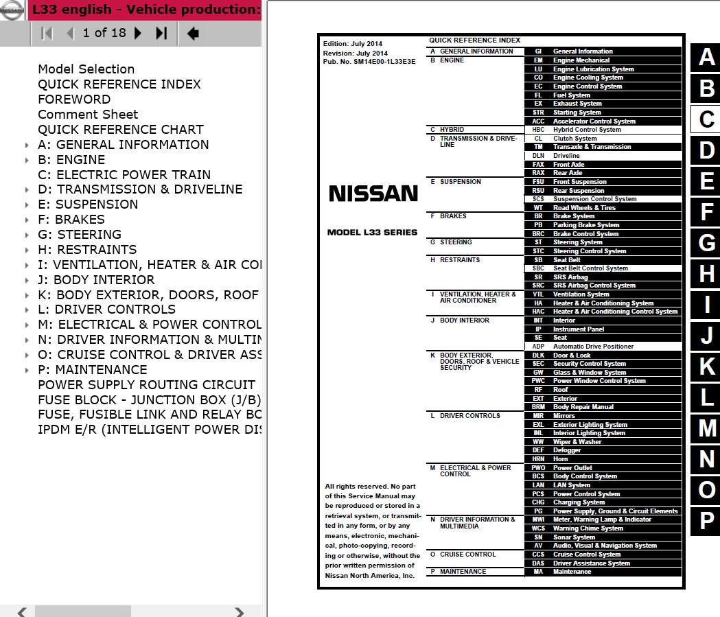 2016 Nissan Altima Service Manual Wiring Diagram Electrical Fuse Box For Download L33 Model 2014 Esm 2012