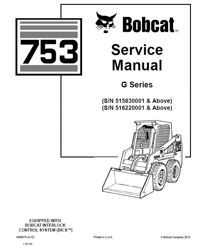 bobcat 753 g series skid steer loader service manual pdf bobcat 753 wiring diagram
