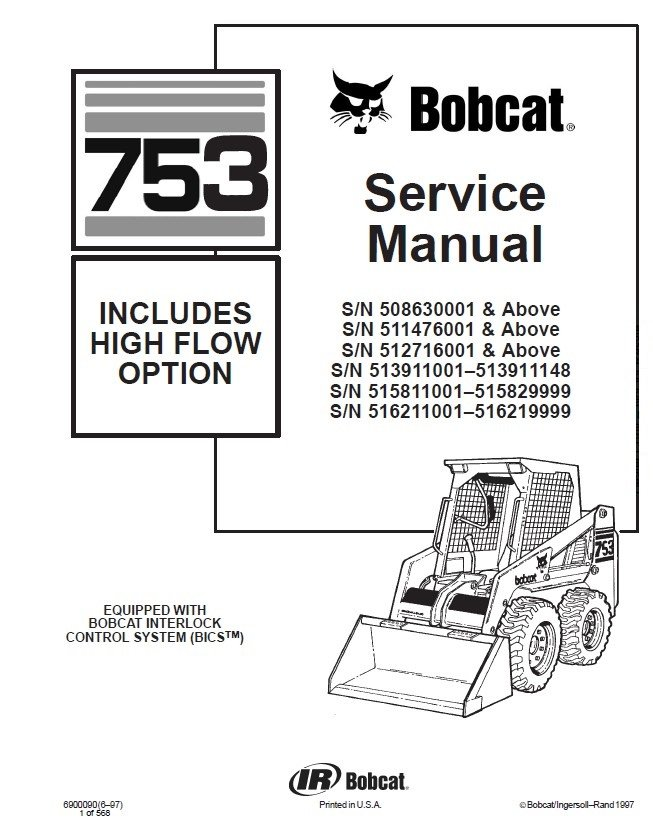 bobcat 753 wiring schematic bobcat 753 hf option skid steer loader service manual pdf