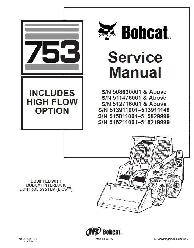 bobcat 753 wiring schematic bobcat 753 hf option skid steer loader service manual pdf #6