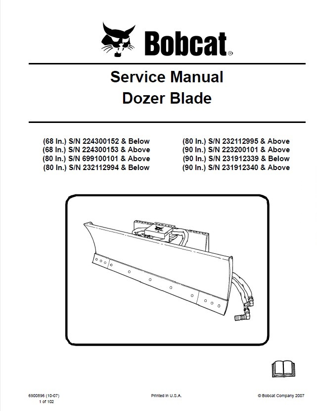bobcat 68 80 90 inch dozer blade service manual pdf. Black Bedroom Furniture Sets. Home Design Ideas