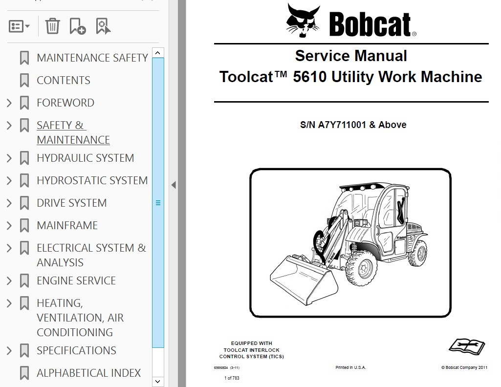 Bobcat Toolcat 5610 Utility Work Machine Service Manual Pdf