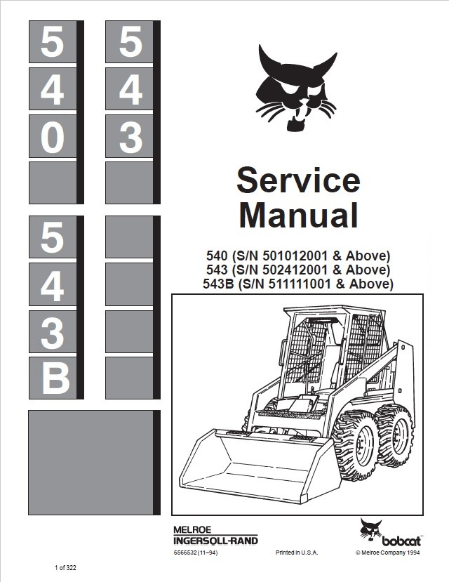bobcat 540 543 543b loaders service manual pdf. Black Bedroom Furniture Sets. Home Design Ideas