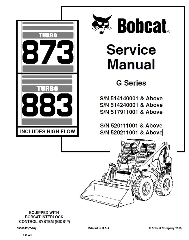 Bobcat 873  883 Turbo Hf Loaders G Series Service Manual