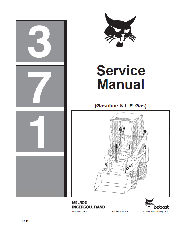 Bobcat 371 Gasoline L P Gas Service Manual Pdf