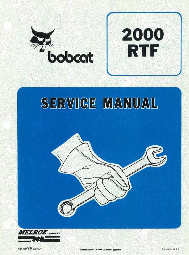 Bobcat 2000 Rtf Wheel Loader Service Manual Pdf