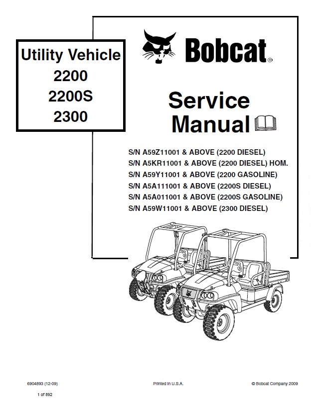 bobcat 2200 2200s 2300 utility vehicle service manual pdf rh epcatalogs com Kubota Parts Diagrams Online Cub Cadet Electrical Diagram
