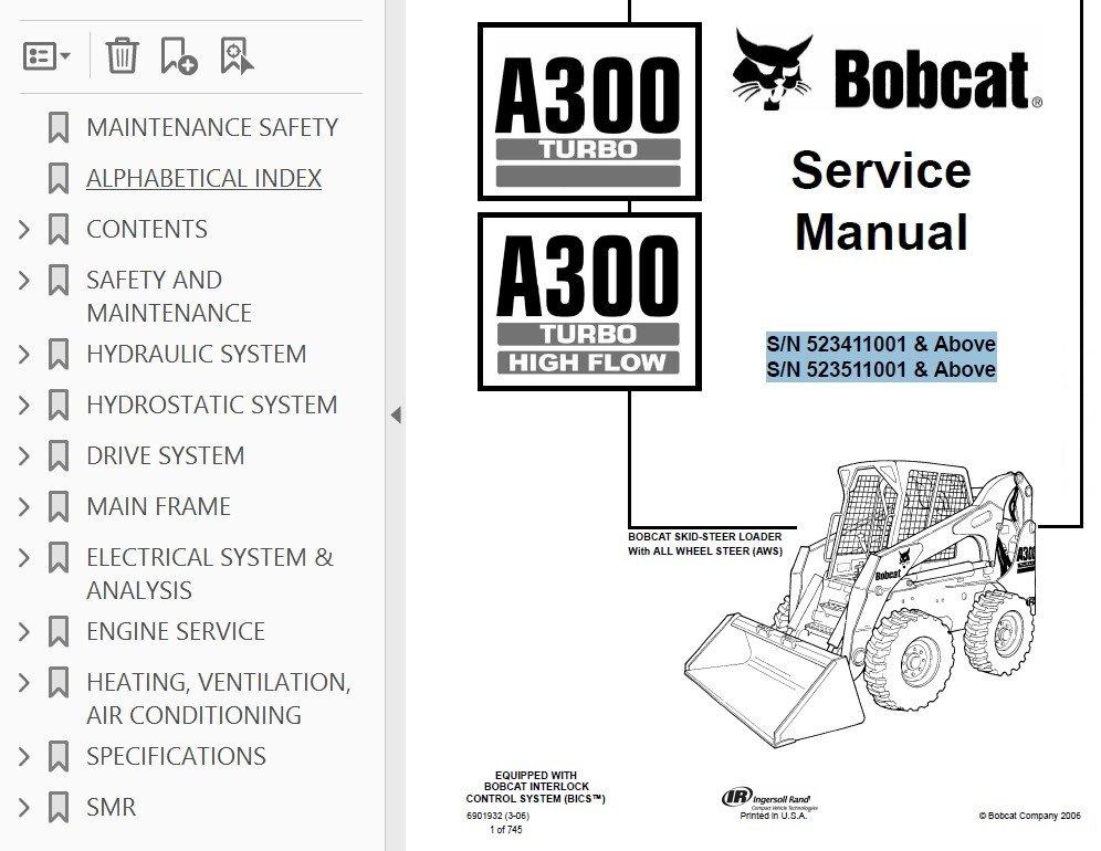 bobcat a300 turbo hf skid steer loaders service manual pdf rh epcatalogs com bobcat a300 owner's manual bobcat a300 operator's manual