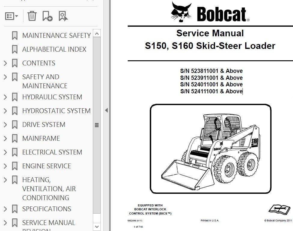 Bobcat S150  S160 Skid Steer Loader Service Manual Pdf