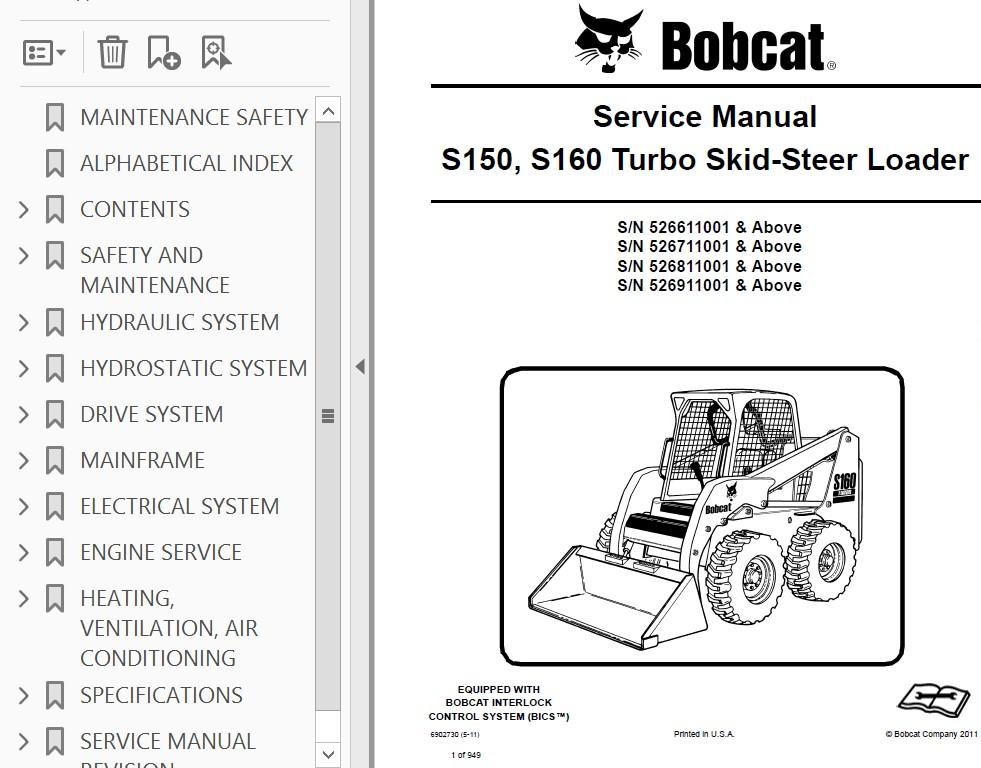 bobcat s150 and s160 turbo skid steer loader service manual pdf Bobcat Skid Steer Wiring Diagram