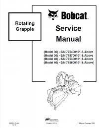 bobcat rotating grapple 30 40 models service manual pdf. Black Bedroom Furniture Sets. Home Design Ideas