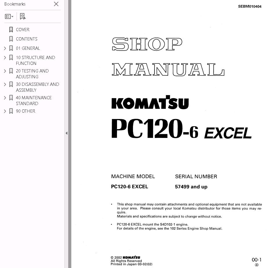 repair manual Komatsu Hydraulic Excavator PC120-6 Set of PDF Manuals