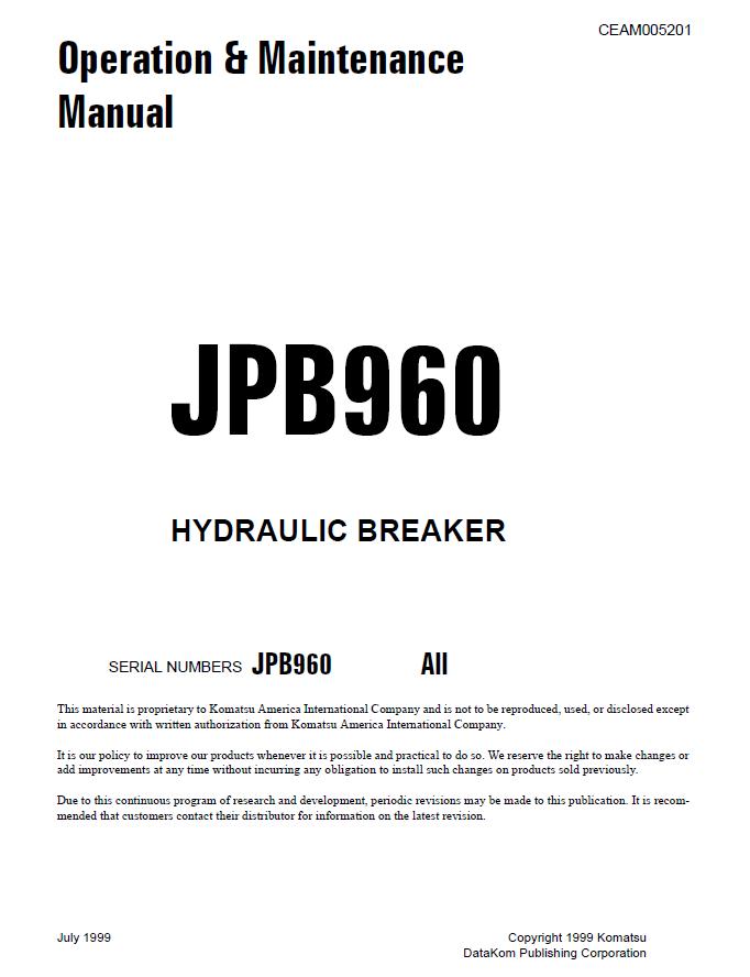 Komatsu Hydraulic Breaker JPB960 Operation and Maintenance Manual