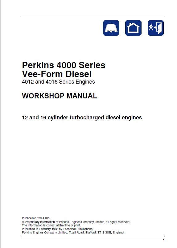 Perkins 4012, 4016 Series Vee-Form Diesel Engines Workshop Manual ...