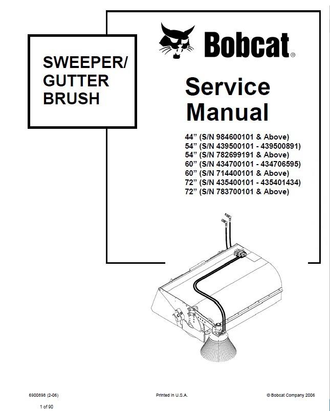 Bobcat Sweeper 72 Parts Manual Enthusiast Wiring Diagrams