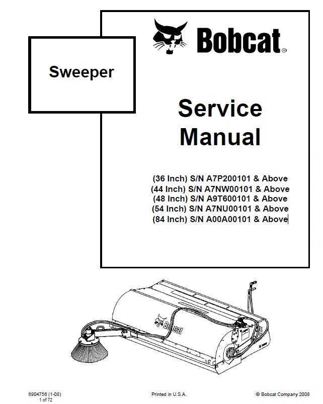 bobcat 36 44 48 54 84 inch sweepers service manual pdf