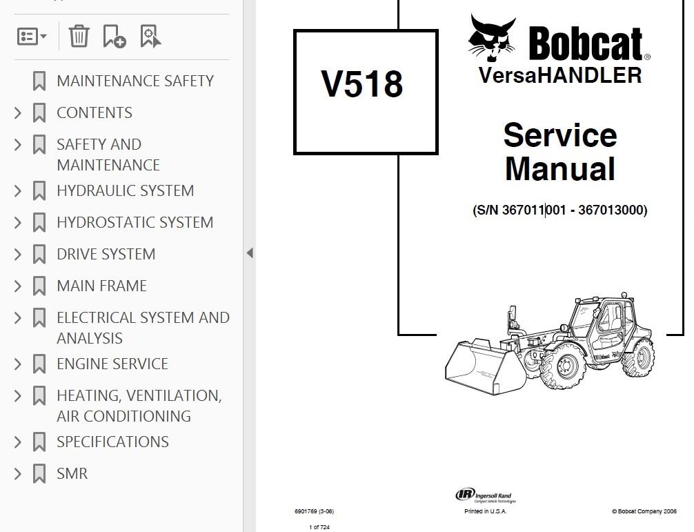 bobcat v518 versahandler service manual pdf rh epcatalogs com Bobcat V518 Enclosed Cab Bobcat Toolcat
