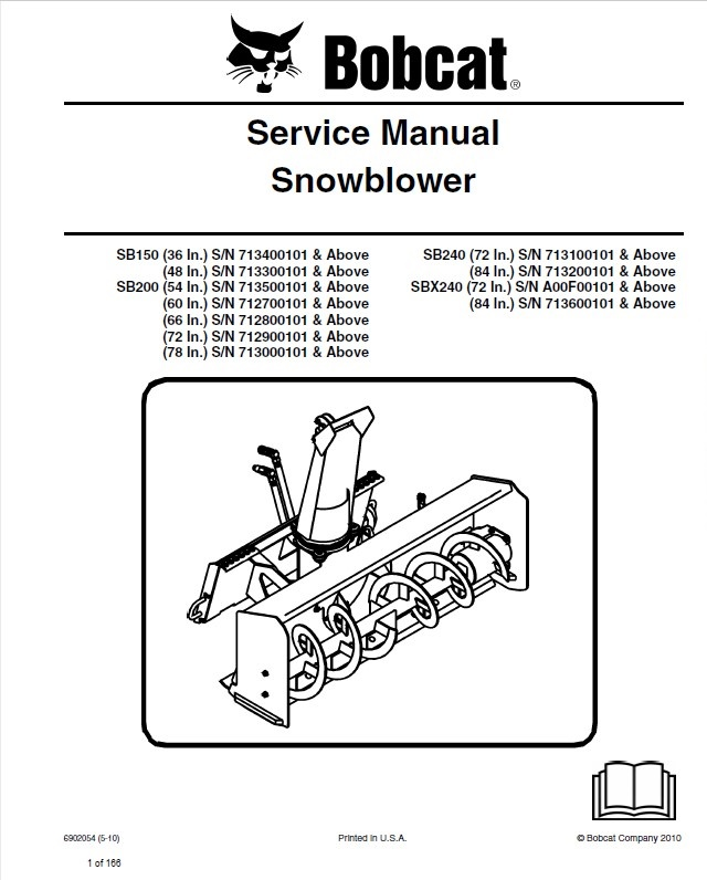 bobcat sb150  200  240 sbx240 snowblower service manual Mustang Wiring Harness Bobcat S185 Wiring -Diagram