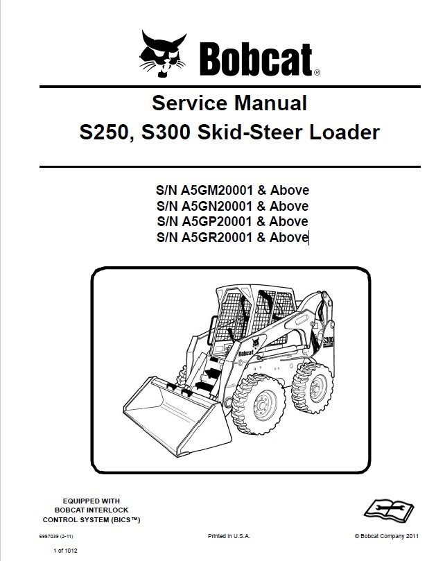 bobcat s250, s300 skid-steer loader service manual pdf s300 bobcat wiring diagram wiper #2