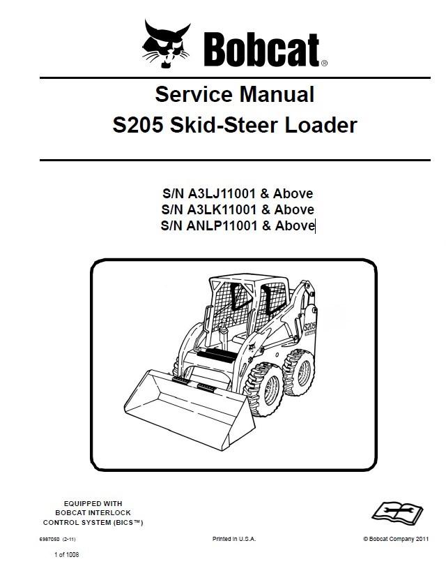 Bobcat S205 Skid-Steer Loader Service Manual PDF