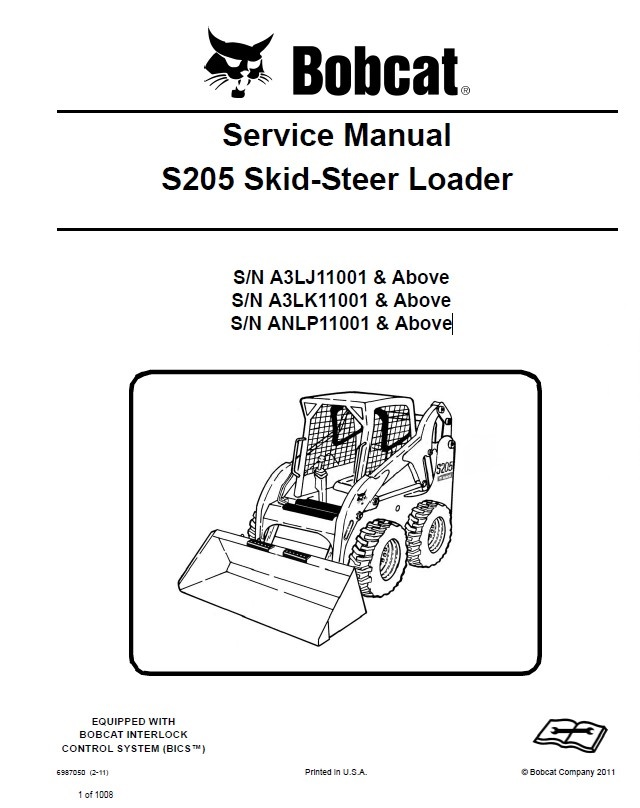 bobcat s205 skid steer loader service manual pdf rh epcatalogs com bobcat s205 manual for fuel service bobcat s205 parts manual
