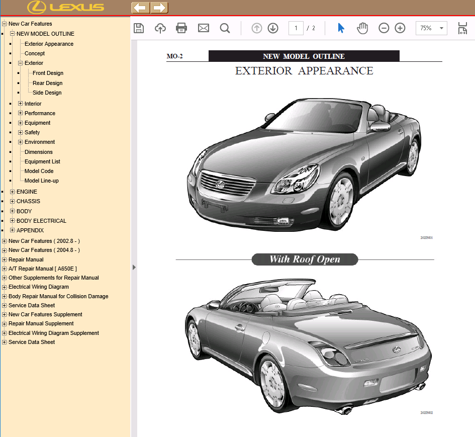 repair manual Lexus SC430 Manuals PDF