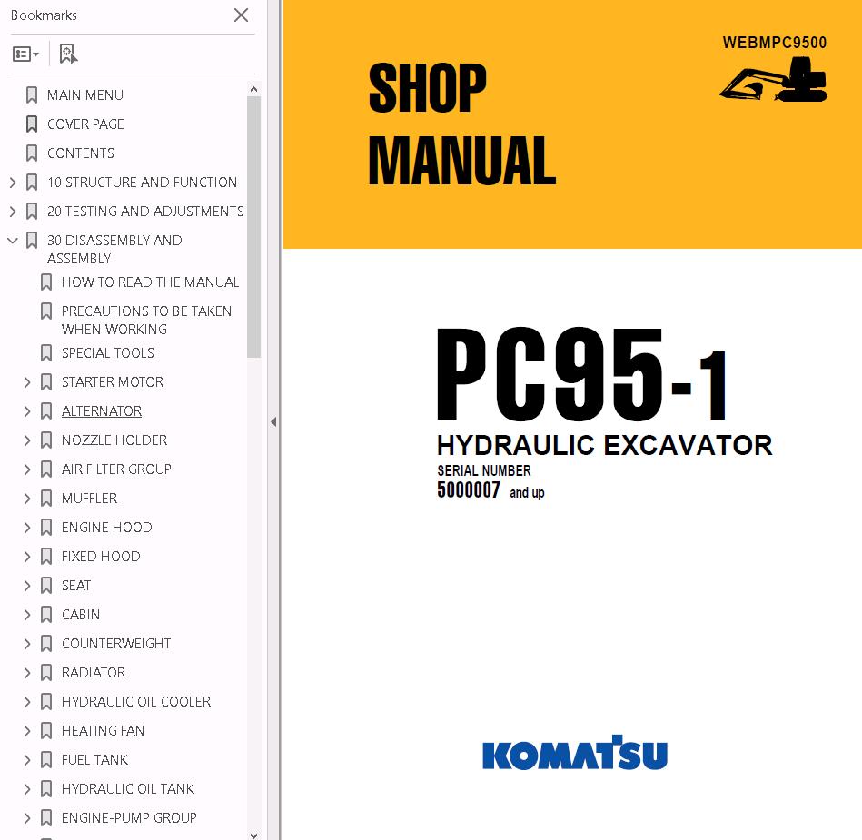 download komatsu pc95 1 excavator manual