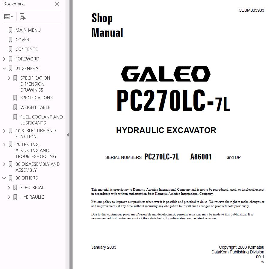 komatsu pc270 7 shop manual