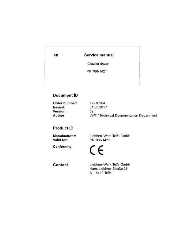 Liebherr Pr 766 1421 Crawler Dozer Service Manual Pdf