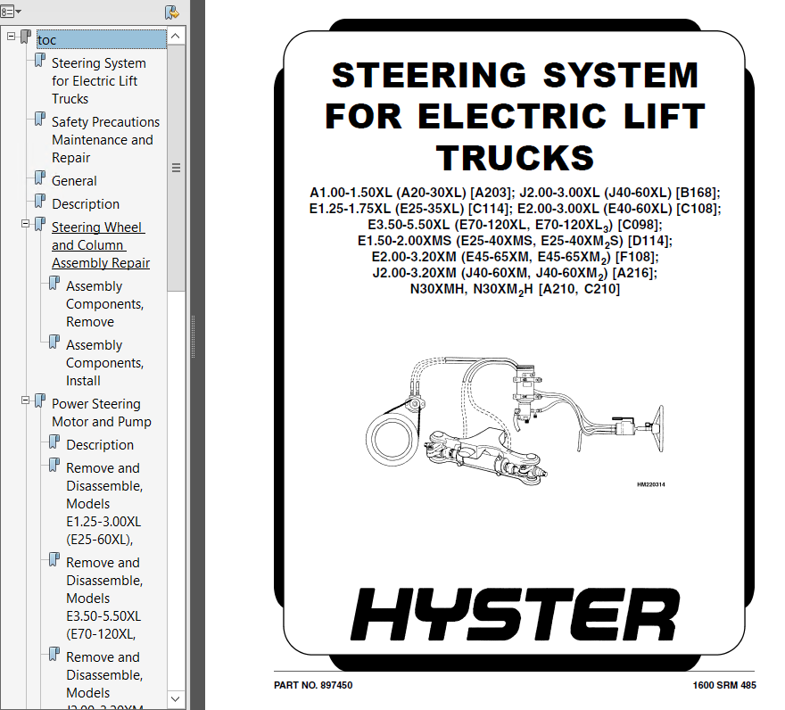 hyster class 1 for d114 electric motor rider trucks pdf manual