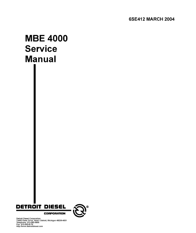 Detroit Diesel MBE Training Center Support Documentation