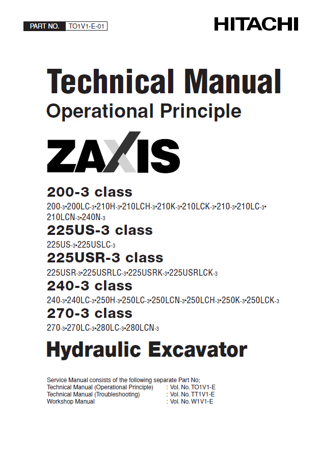 hitachi zaxis 200 3 225us 3 225usr 3 240 3 270 3 pdf rh epcatalogs com hitachi excavator workshop manual hitachi workshop manuals