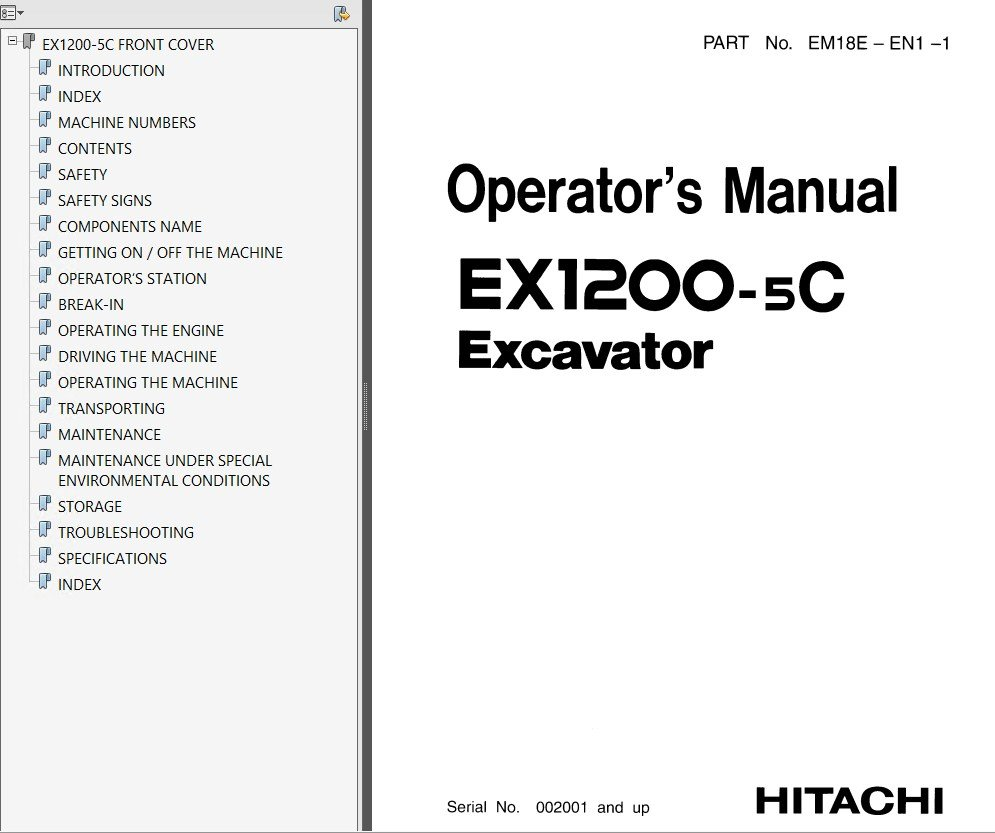 hitachi ex1200 5 ex1200 5c ex1900 5 excavator pdf rh epcatalogs com Hitachi Excavators Service Manual Hitachi TV Service Manual