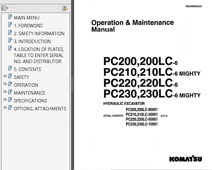 Komatsu Hydraulic Excavators PC200-210-220-230-240-250-6 Set of PDF Manuals