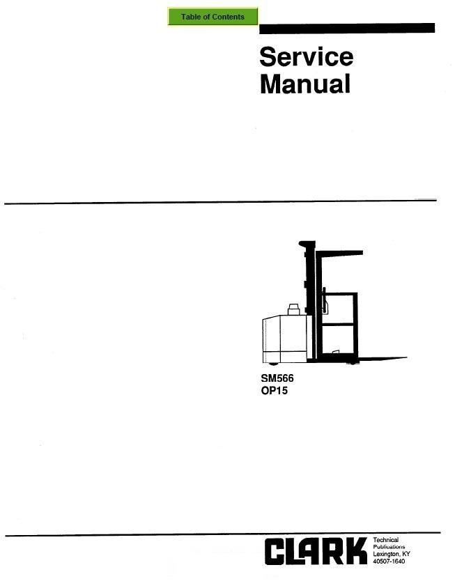 clark op15 sm566 service manual pdf rh epcatalogs com Clark TMG20 Clark Op15 Order Picker Specs