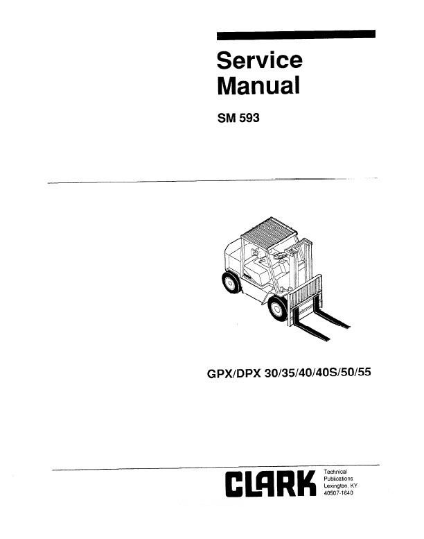 clark gpx  dpx 30  35  40  40s  50  55 sm593 pdf manual