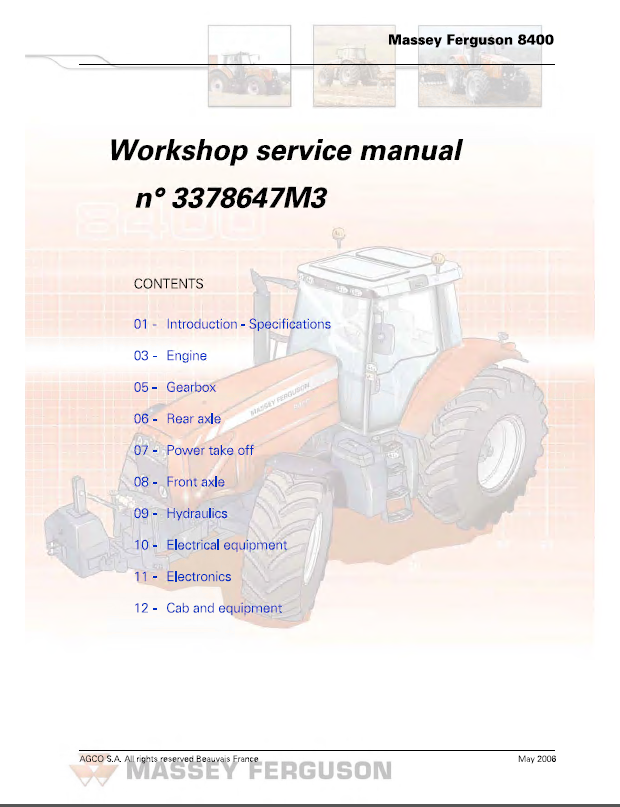 Massey Ferguson 8400 Series Tractors Workshop Service Manual PDF